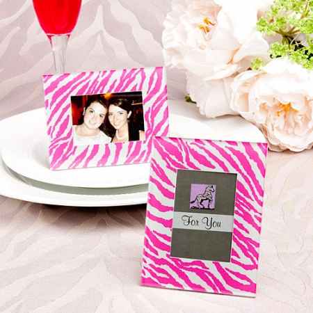 pink-zebra-pattern-place-card-holder-picture-frame-favor